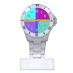 Right Angle Squares Stripes Cross Colored Plastic Nurses Watch