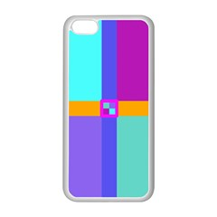 Right Angle Squares Stripes Cross Colored Apple Iphone 5c Seamless Case (white) by EDDArt
