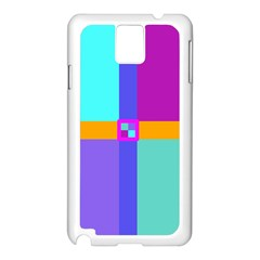Right Angle Squares Stripes Cross Colored Samsung Galaxy Note 3 N9005 Case (white) by EDDArt