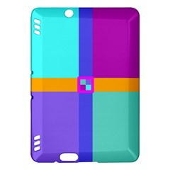 Right Angle Squares Stripes Cross Colored Kindle Fire Hdx Hardshell Case by EDDArt