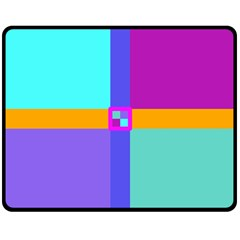 Right Angle Squares Stripes Cross Colored Double Sided Fleece Blanket (medium)  by EDDArt