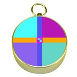 Right Angle Squares Stripes Cross Colored Gold Compasses Front
