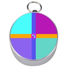 Right Angle Squares Stripes Cross Colored Silver Compasses by EDDArt