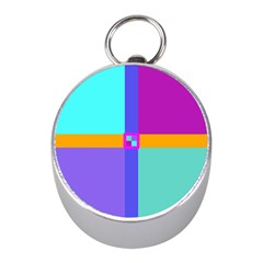 Right Angle Squares Stripes Cross Colored Mini Silver Compasses by EDDArt