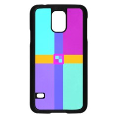 Right Angle Squares Stripes Cross Colored Samsung Galaxy S5 Case (black) by EDDArt