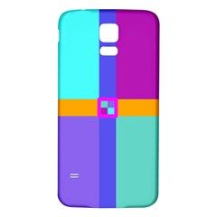 Right Angle Squares Stripes Cross Colored Samsung Galaxy S5 Back Case (white) by EDDArt