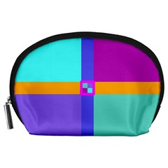 Right Angle Squares Stripes Cross Colored Accessory Pouches (large)  by EDDArt