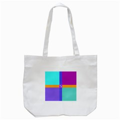 Right Angle Squares Stripes Cross Colored Tote Bag (white)
