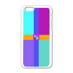 Right Angle Squares Stripes Cross Colored Apple Iphone 6/6s White Enamel Case by EDDArt