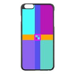 Right Angle Squares Stripes Cross Colored Apple Iphone 6 Plus/6s Plus Black Enamel Case by EDDArt