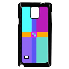 Right Angle Squares Stripes Cross Colored Samsung Galaxy Note 4 Case (black) by EDDArt