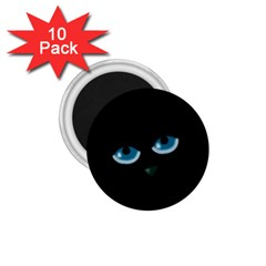 Halloween   Black Cat   Blue Eyes 1 75  Magnets (10 Pack)  by Valentinaart