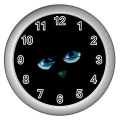 Halloween   Black Cat   Blue Eyes Wall Clocks (silver)  by Valentinaart