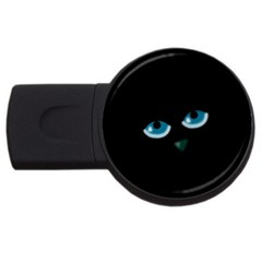 Halloween   Black Cat   Blue Eyes Usb Flash Drive Round (2 Gb)  by Valentinaart