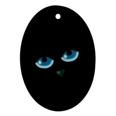 Halloween   Black Cat   Blue Eyes Oval Ornament (two Sides) by Valentinaart
