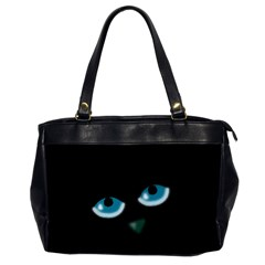 Halloween - black cat - blue eyes Office Handbags (2 Sides)
