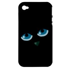 Halloween   Black Cat   Blue Eyes Apple Iphone 4/4s Hardshell Case (pc+silicone) by Valentinaart