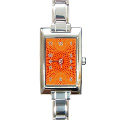 Lotus Fractal Flower Orange Yellow Rectangle Italian Charm Watch by EDDArt