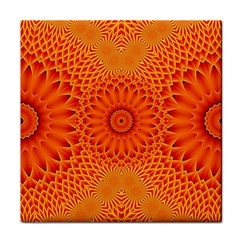 Lotus Fractal Flower Orange Yellow Tile Coasters