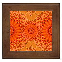 Lotus Fractal Flower Orange Yellow Framed Tiles by EDDArt