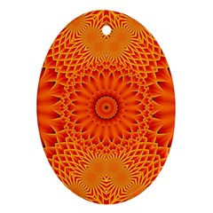 Lotus Fractal Flower Orange Yellow Ornament (oval)  by EDDArt