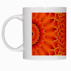 Lotus Fractal Flower Orange Yellow White Mugs