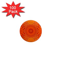 Lotus Fractal Flower Orange Yellow 1  Mini Magnets (100 Pack)  by EDDArt