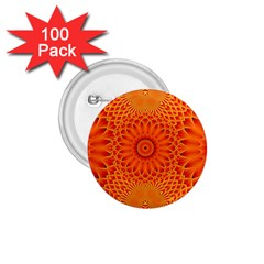 Lotus Fractal Flower Orange Yellow 1 75  Buttons (100 Pack)  by EDDArt