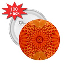 Lotus Fractal Flower Orange Yellow 2 25  Buttons (100 Pack)  by EDDArt