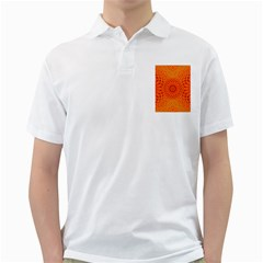 Lotus Fractal Flower Orange Yellow Golf Shirts