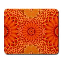 Lotus Fractal Flower Orange Yellow Large Mousepads by EDDArt