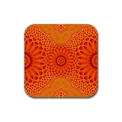 Lotus Fractal Flower Orange Yellow Rubber Coaster (square)  by EDDArt