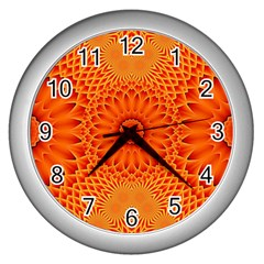 Lotus Fractal Flower Orange Yellow Wall Clocks (silver)  by EDDArt