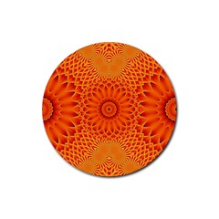 Lotus Fractal Flower Orange Yellow Rubber Coaster (round)  by EDDArt
