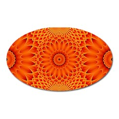 Lotus Fractal Flower Orange Yellow Oval Magnet