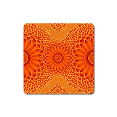 Lotus Fractal Flower Orange Yellow Square Magnet by EDDArt