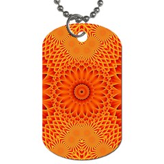 Lotus Fractal Flower Orange Yellow Dog Tag (two Sides) by EDDArt