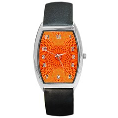 Lotus Fractal Flower Orange Yellow Barrel Style Metal Watch by EDDArt