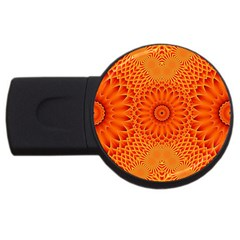 Lotus Fractal Flower Orange Yellow Usb Flash Drive Round (4 Gb)  by EDDArt