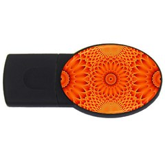 Lotus Fractal Flower Orange Yellow Usb Flash Drive Oval (4 Gb)  by EDDArt