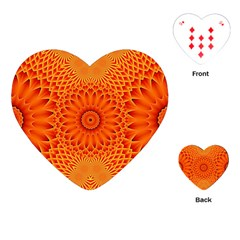 Lotus Fractal Flower Orange Yellow Playing Cards (heart)  by EDDArt