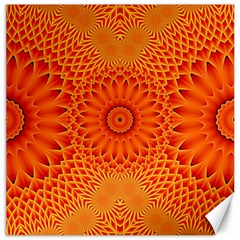 Lotus Fractal Flower Orange Yellow Canvas 12  X 12   by EDDArt