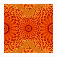 Lotus Fractal Flower Orange Yellow Medium Glasses Cloth (2 Side) by EDDArt