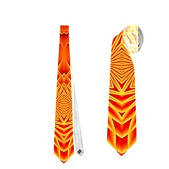 Lotus Fractal Flower Orange Yellow Neckties (two Side)  by EDDArt