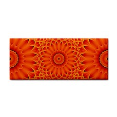 Lotus Fractal Flower Orange Yellow Hand Towel by EDDArt