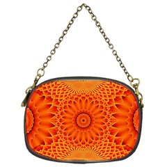 Lotus Fractal Flower Orange Yellow Chain Purses (one Side)  by EDDArt