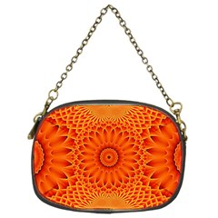 Lotus Fractal Flower Orange Yellow Chain Purses (two Sides)  by EDDArt