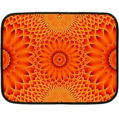 Lotus Fractal Flower Orange Yellow Fleece Blanket (mini) by EDDArt