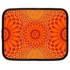 Lotus Fractal Flower Orange Yellow Netbook Case (xxl)  by EDDArt