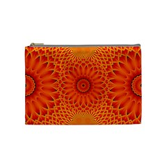 Lotus Fractal Flower Orange Yellow Cosmetic Bag (medium)  by EDDArt